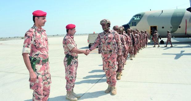 عودة القوات المشاركة في تمرين درع – الجزيرة بالسعودية لقاعدة المصنعة الجوية