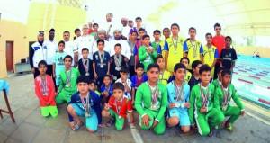 نادي صحار يتوج بالمركز الأول في بطولة الباطنة للسباحة القصيرة والسلام وصحم في المركز الثاني