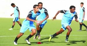 منتخبنا الوطني لناشئي القدم يواصل تدريباته بمعسكره الداخلي بصحار