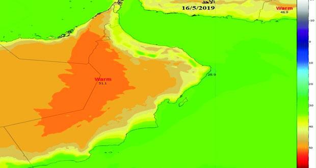 (الإرصاد): ارتفاع متوقع بدرجات الحرارة خلال الـ (3) الأيام القادمة تصل لـ (50) درجة