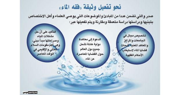 (فقه الماء) توصي بالتعاون الإنساني والوعي بالمحافظة على النعمة