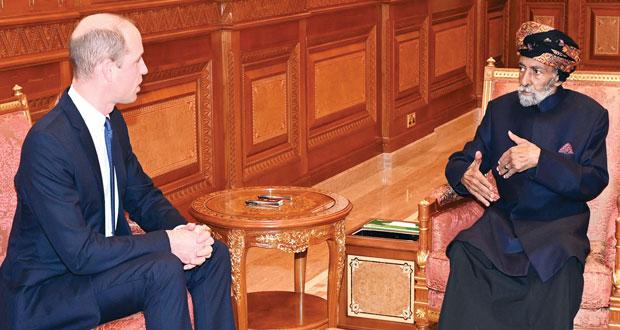 جلالة السلطان يستعرض مع دوق كامبريدج علاقات التعاون