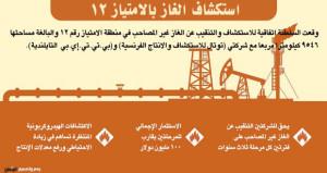"""اتفاقية استكشاف وتنقيب عن الغاز بـ """" الامتياز 12 """""""