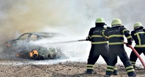 الدفاع المدني والإسعاف يتعامل مع «769» حادث حريق بالمركبات