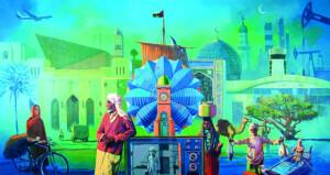 التشكيلي سالم السلامي يقدم لوحته الجديدة بعنوان (ماضٍ من الحاضر)