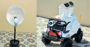 مبتكر يصنع عربة لاسلكية لنقل الوجبات وصحن هوائي لتقوية شبكات الواي فاي