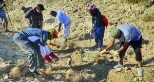 شق مسارات جبلية لممارسة رياضة الدرّاجات الهوائية لشباب فريق الظاهرة