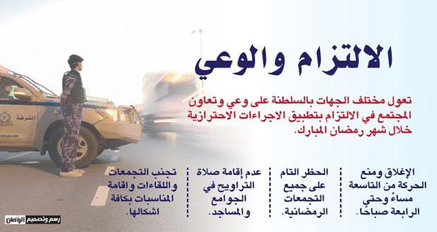 السلطنة تبدأ أول أيام رمضان وبدء سريان منع الحركة وغلق الأنشطة من التاسعة إلى الرابعة صباحا تزامنا مع الموجة الأعنف للجائحة